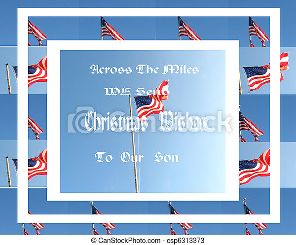 Military Christmas Card/Flags - csp6313373