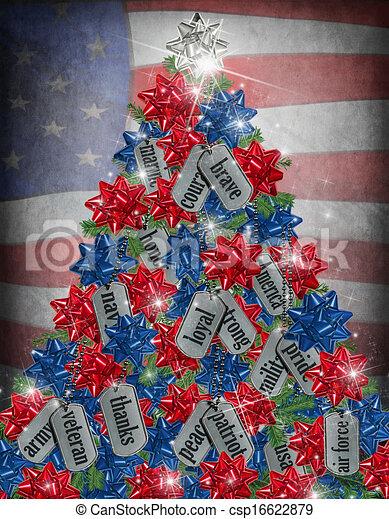 Patriotic Christmas Background.Military Christmas Tree