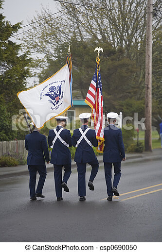 Military Color Guard Marching on a Foggy Day - csp0690050