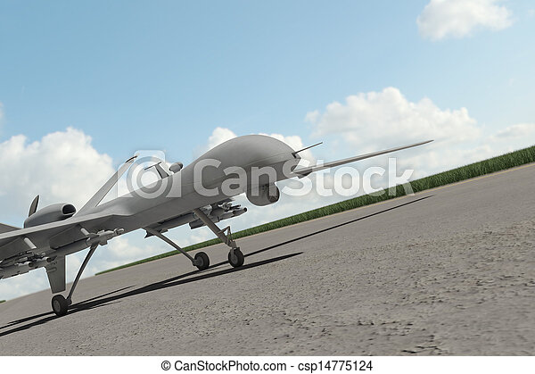 Military combat drone on ground - csp14775124