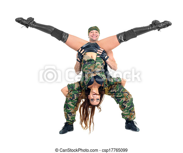 military dancer couple dressed in camouflage costumes - csp17765099  sc 1 st  Can Stock Photo & Military dancer couple dressed in camouflage costumes. Dancers in ...