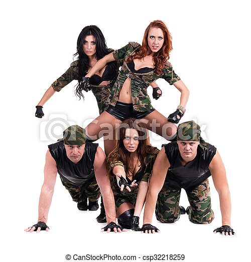 89e7c867815b Military dancer team dressed in camouflage costumes. Dancers in ...