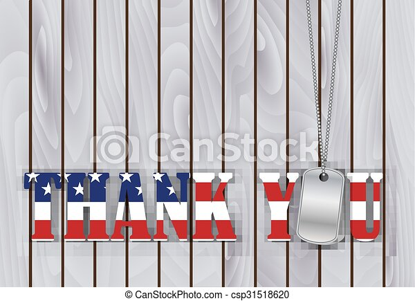 military dog tag thank you with flag  - csp31518620