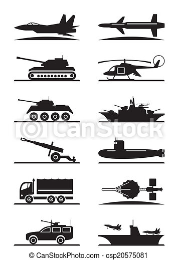 Military equipment icon set - csp20575081