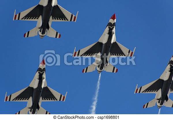 Military fighter aircraft flight demonstration - csp1698801