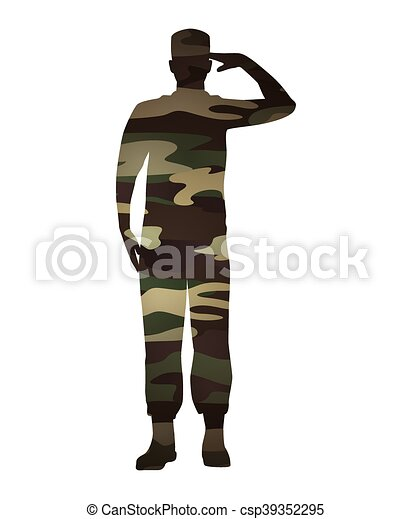 military figure avatar camouflage isolated icon - csp39352295