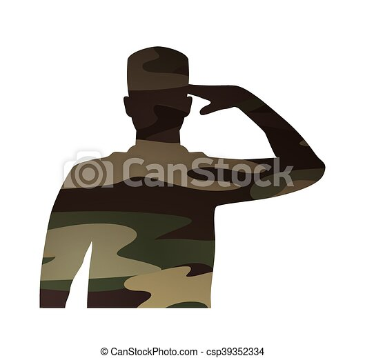 military figure avatar camouflage isolated icon - csp39352334