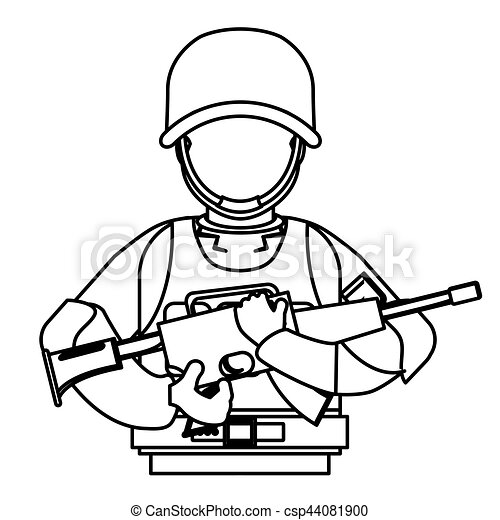 military figure with his gun and equipment protection image rh canstockphoto com