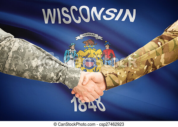 Military handshake and US state flag - Wisconsin - csp27462923