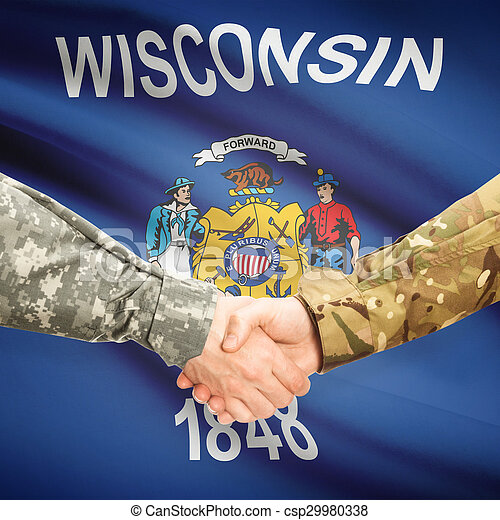 Military handshake and US state flag - Wisconsin - csp29980338