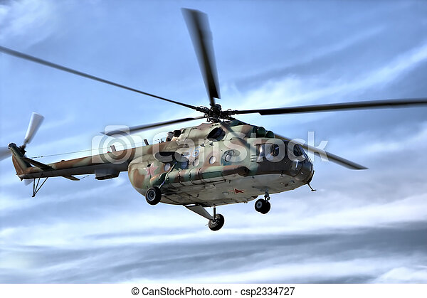 Military helicopter in sky - csp2334727