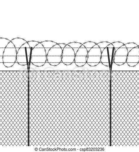 Military jail fence. Vector barbed spike wire. Safety metal net barrier. Prison iron gate security fencing. Simple graphic illustration - csp83203236