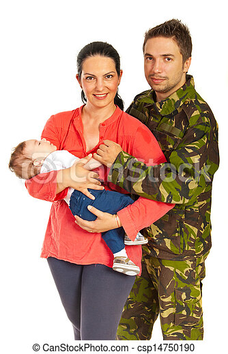 Military man and his family - csp14750190
