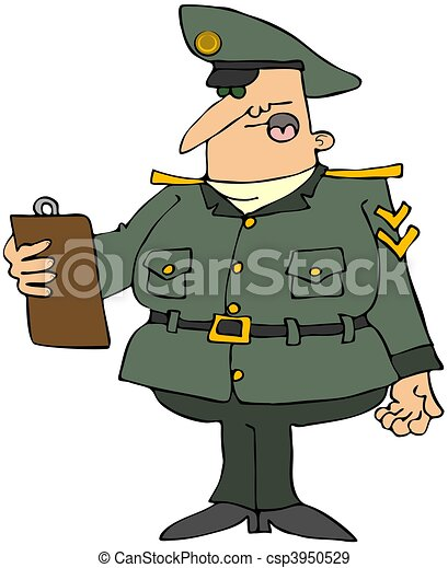 Military Man With A Clipboard - csp3950529