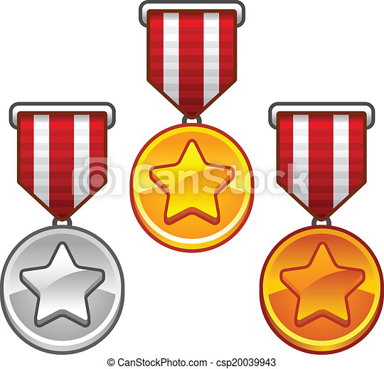 set of gold silver and bronze military medals with stars eps rh canstockphoto com Door Clip Art Treasure Clip Art