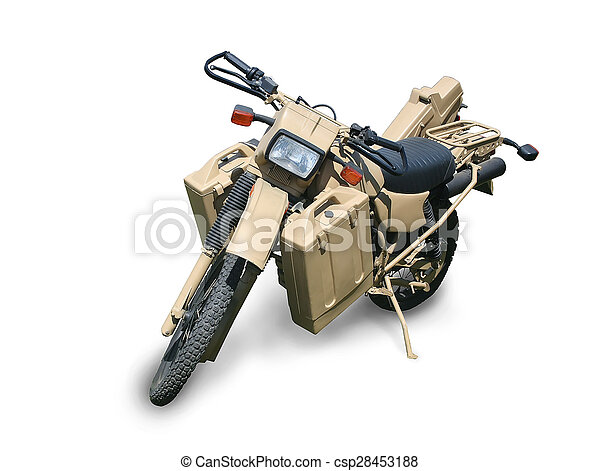 military motorcycle isolated - csp28453188