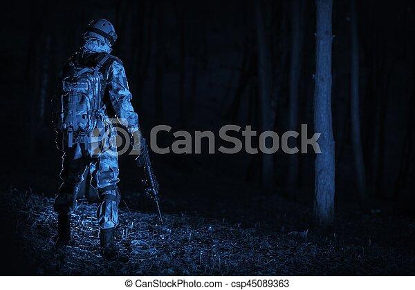 Military Operation at Night - csp45089363