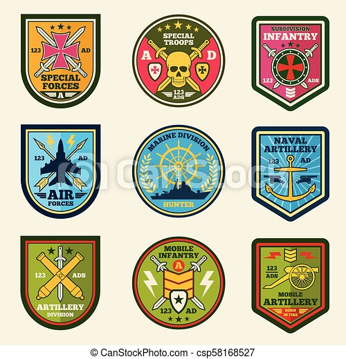Military patches vector set  Army forces emblems and labels