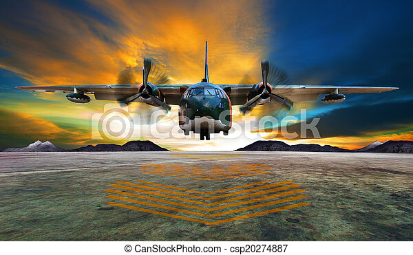 military plane landing on airforce runways against beautiful dus - csp20274887