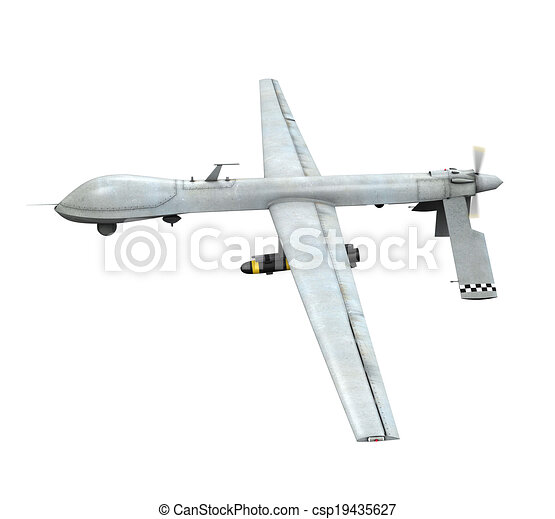 Military Predator Drone Isolated On White Background 3D Clip