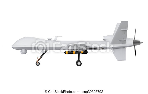 Military Predator Drone Isolated On White Background 3D Stock