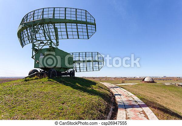Military russian radar station against blue sky - csp26947555
