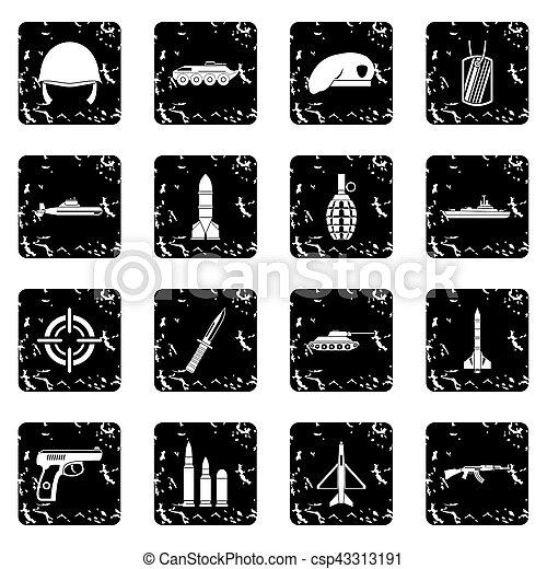 Military set icons, grunge style - csp43313191