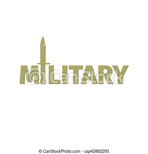 Military shop logo design with kinfe - csp42862293