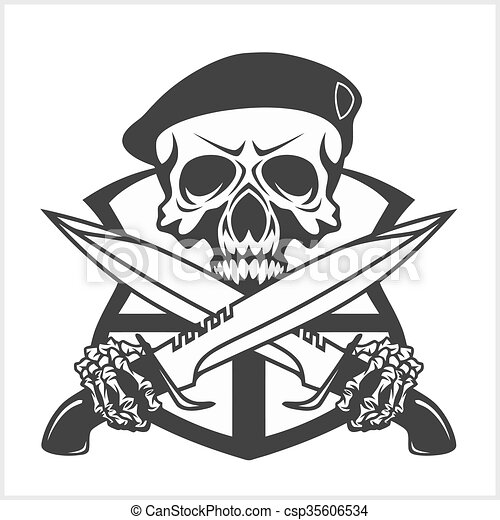 Military Skull - Chevron with daggers - csp35606534