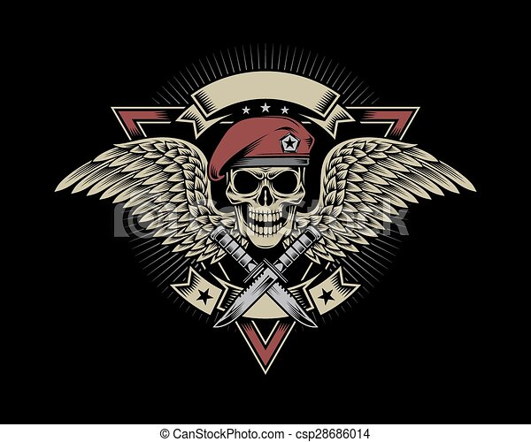 Military Skull with Wings - csp28686014