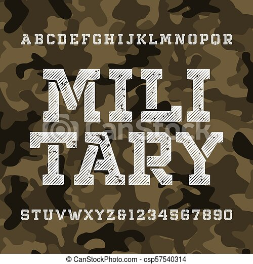 Military stencil alphabet font  Distressed type letters and numbers