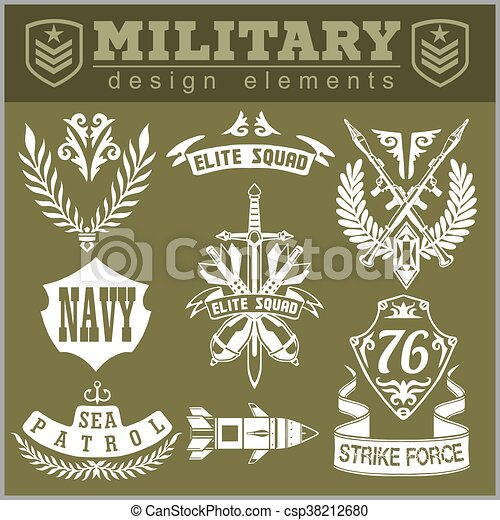 Military symbols with weapon and people uniform