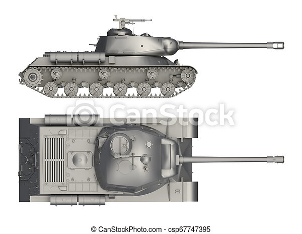 military tank side and top view isolated on white 3d rendering can stock photo