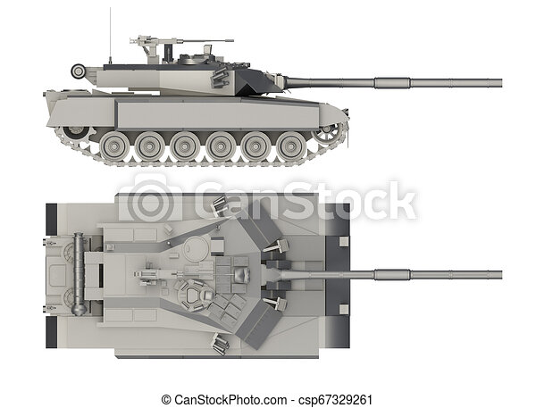 military tank side and top view isolated on white 3d rendering https www canstockphoto com military tank side and top view isolated 67329261 html
