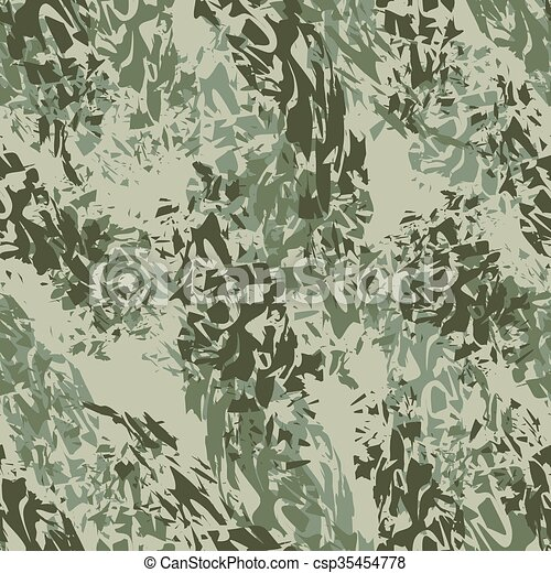 Military texture. Army seamless pattern. Ornament for soldiers clothes. Military green pattern. Splatter brush. Hacks ornament. Texture for fabrics for soldiers and hunters - csp35454778