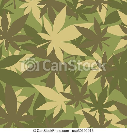 Military texture of marijuana. Soldiers camouflage hemp. Army seamless background from leaves of cannabis. - csp30192915