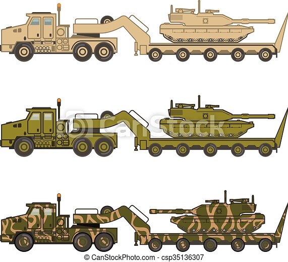 Military Truck pulling tank vector - csp35136307