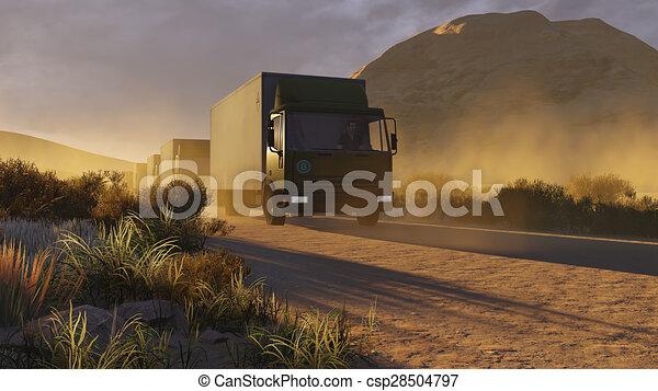 Military trucks on a desert road 1 - csp28504797