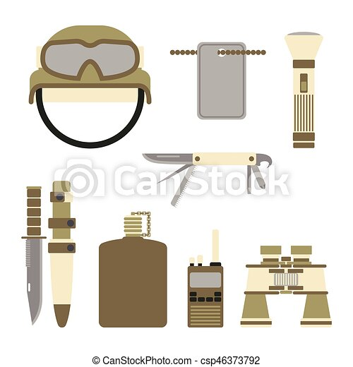Military weapon guns symbols armor set forces design and american fighter ammunition navy camouflage sign vector illustration. - csp46373792