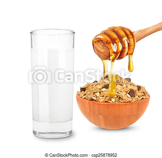 milk and cereal with honey - csp25878952