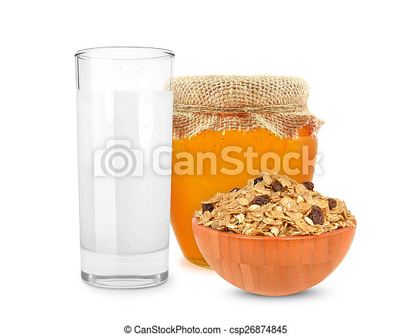 milk and cereal with honey - csp26874845