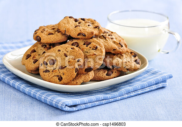 Milk and chocolate chip cookies - csp1496803
