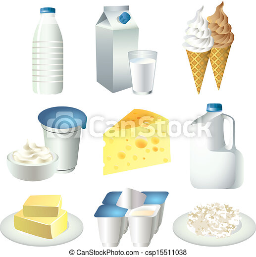 milk and dairy products vector set - csp15511038