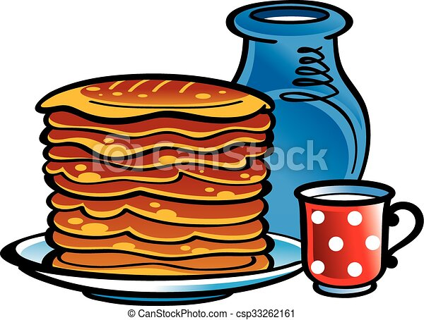 milk and pancakes pot and cup of milk and fresh pancakes clip art rh canstockphoto com pancakes clip art free pancake clip art free download