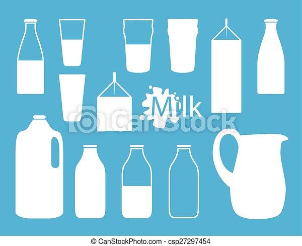 milk bottle silhouette - csp27297454