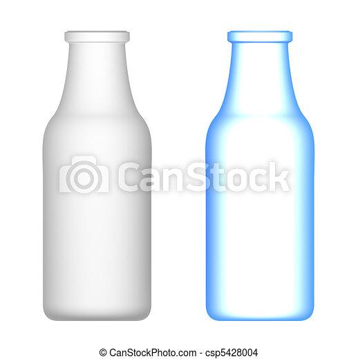 Milk Bottles isolated on white - csp5428004