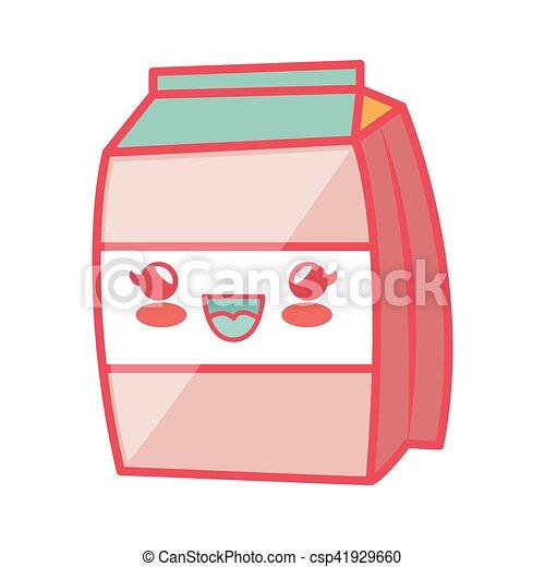 milk box carton kawaii style isolated icon - csp41929660