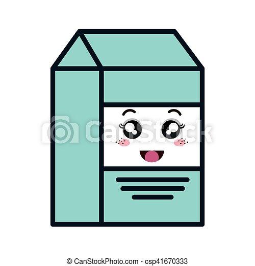 milk box kawaii style - csp41670333