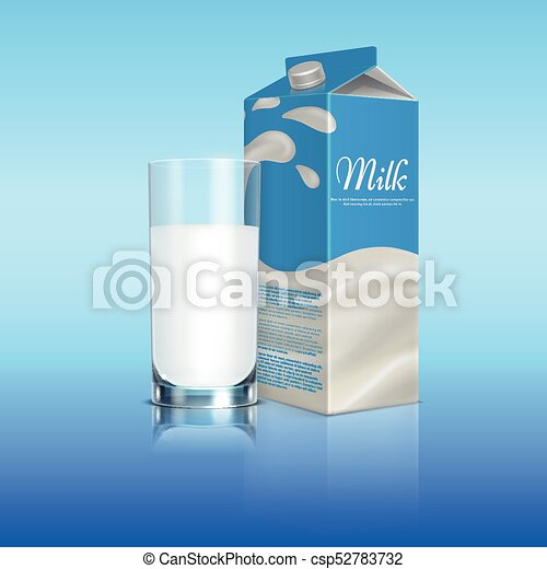 Milk Carton Box With Glass Cup Vector Template