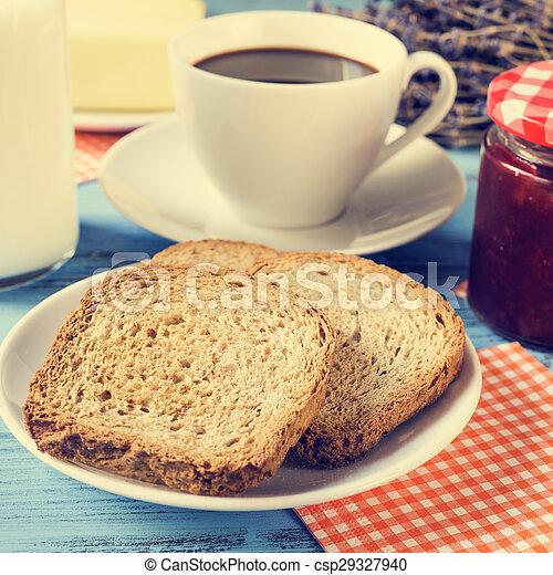 milk, coffee, toasts and jam, cross-processed - csp29327940